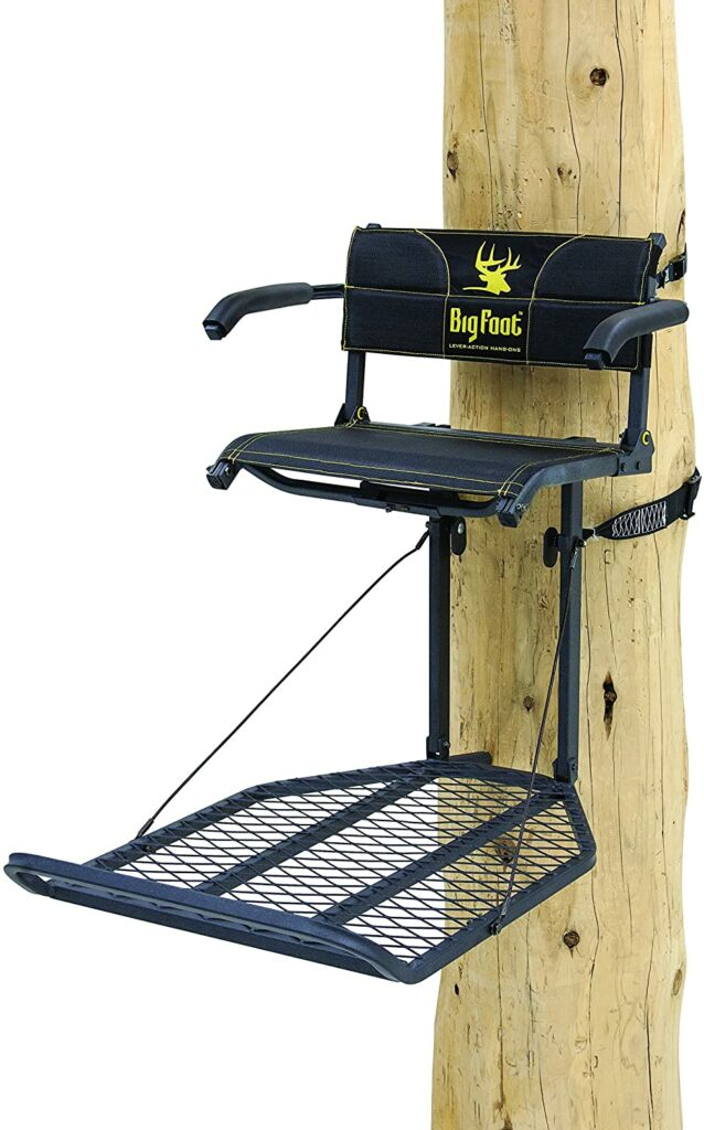 """Rivers Edge RE556, Big Foot TearTuff XL Lounger, Lever-Action Hang-On Tree Stand with TearTuff Flip-up Mesh Seat, Oversized 37.5"""" x 24"""" Platform..."""