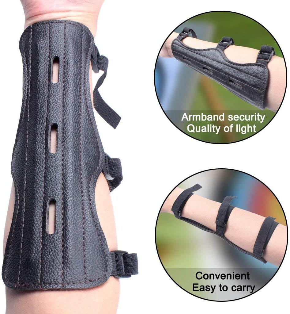 Archery Arm Guards Leather Forearm Protector Adjustable Bow Armguard